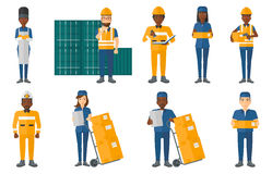 Vector set of industrial workers. Stock Photos