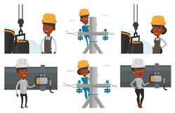 Vector set of industrial workers. Stock Image