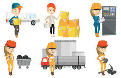 Vector set of industrial workers. Stock Photography
