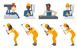 Vector set of industrial workers. Royalty Free Stock Image