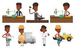 Vector set of industrial workers. Stock Photo