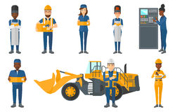 Vector set of industrial workers. Royalty Free Stock Photos