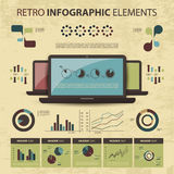 Vector set of infographic elements. Colorful abstract retro infographic elements for business, IT and statistics - illustration in freely scalable and editable Stock Images
