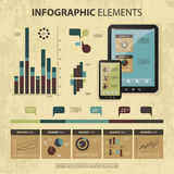 Vector Set of Infographic Elements. Set of Various Infographic Element Templates: Charts, Diagrams, Touch Devices - Illustration in Freely Scalable & Editable Royalty Free Stock Image