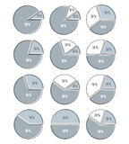 Vector set of infographic elements of circles, circular diagrams Stock Photos