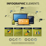 Vector Set of Infographic Elements. Colorful Vector Set of Infographic Elements, Pie Charts, Diagrams, World Map, Tags and Various Computer Devices Royalty Free Stock Image