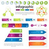 Vector set of infographic templates. Consisting of pyramids, circles, lines, using icons and space for text. For web design, business presentations, education Stock Image