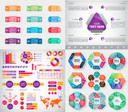 Vector set of infographics, charts, paper stickers Royalty Free Stock Image