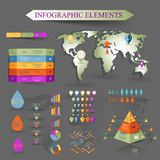 Vector set of infographics elements. With map Royalty Free Stock Photo