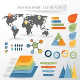 Vector set of infographics elements. With map Stock Image