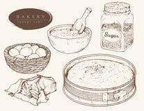 Vector set ingredients for sponge cake. Sweet bakery - ingredients for sponge cake. Hand drawn. Vintage style royalty free illustration