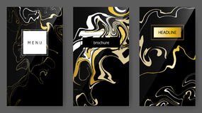 Vector Set Ink pseudo Marbling texture, artistic templates, ebru backgrounds. Brochure, headline, menu, mobile, user interface, trendy card design Royalty Free Stock Photos
