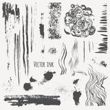 Vector set with ink shading, lines, strokes, stains, curls Stock Photos