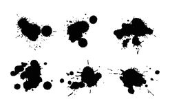 Vector set of ink splashes blots splatter collection grunge design element and art messy backdrop color dirty liquid. Vector set of ink splashes blots splatter Royalty Free Stock Photography