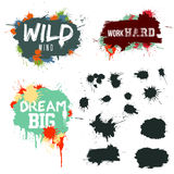 Vector Set of Ink Splashes . Grunge Ink Blots . Ink Blots Splash Collection . Royalty Free Stock Image