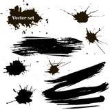 Vector set of ink splashes, ink blots, Brush strokes. Vector illustration Stock Images