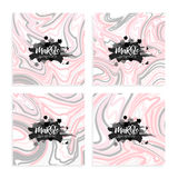 Vector set Ink texture watercolor hand drawn marbling illustration, abstract background, aqua print.nTemplate for sail Royalty Free Stock Images