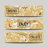 Vector set with ink watercolor hand drawn golden marble banners. Creative textured abstract backgrounds stock illustration