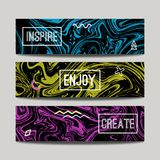 Vector set with ink watercolor hand drawn marble banners. Creative textured abstract backgrounds stock illustration
