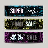 Vector set with ink watercolor hand drawn marble sale banners. Creative textured abstract discount backgrounds vector illustration
