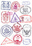 Vector set of international passport stamps. Royalty Free Stock Images