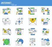 Vector set of Internet online services icons in thin line style. Cyber security, email and social media network. Website vector illustration