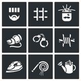 Vector Set of Interrogation Icons. Criminal, Prison, Electric chair, Lie detector, Arrest, Insulation, Appliance. Prisoner, Prison bar, Brain scan, Finger Stock Photo