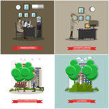 Vector set of investigation posters in flat style Royalty Free Stock Photography