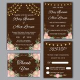 Vector set of invitation cards flowers elements. And calligraphic letters. Wedding collection Stock Image