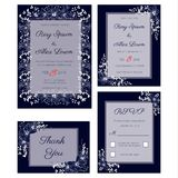 Vector set of invitation cards flowers elements. And calligraphic letters. Wedding collection Royalty Free Stock Photo