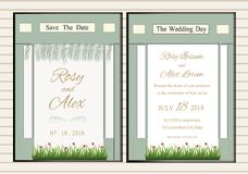 Vector set of invitation cards with  flowers elements Wedding co. Llection Royalty Free Stock Photos
