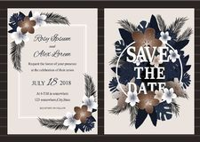Vector set of invitation cards with  flowers elements Wedding co. Llection Stock Photo