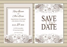 Vector set of invitation cards with  flowers elements Wedding co. Llection Stock Photography
