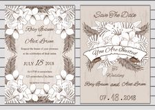 Vector set of invitation cards with  flowers elements Wedding co. Llection Royalty Free Stock Photo