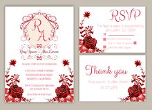 Vector set of invitation cards with flowers elements Wedding col. Lection,RSVP,thankyou Stock Photo