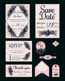Vector set of invitation cards with flowers elements Wedding col. Lection Stock Images