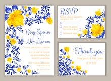 Vector set of invitation cards with flowers elements Wedding col. Lection,RSVP,thankyou stock illustration