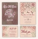 Vector set of invitation cards with flowers elements Wedding col. Lection Stock Photo