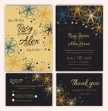 Vector set of invitation cards with flowers elements Wedding col. Lection Royalty Free Stock Photography