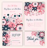 Vector set of invitation cards with flowers elements Wedding col. Lection Royalty Free Stock Images