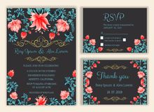 Vector set of invitation cards with flowers elements Wedding col. Lection,RSVP,thankyou Royalty Free Stock Image