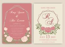 Vector set of invitation cards with flowers elements Wedding col. Lection,RSVP,thankyou Royalty Free Stock Images