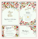 Vector set of invitation cards with flowers elements Wedding col. Lection vector illustration