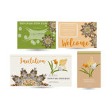 Vector set of invitation cards with spring flowers elements and mandala. Postcard collection Stock Photography