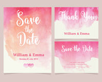 Vector set of invitation cards with watercolor elements. Stock Photography