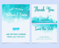 Vector set of invitation cards with watercolor Stock Image