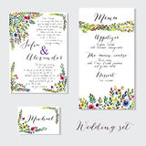 Vector set of invitation cards with watercolor Stock Photography