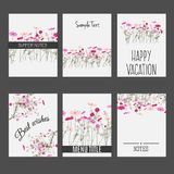 Vector set of invitation cards with wild summer field flowers elements and calligraphic letters. Suitable for wedding. Collection, summer sale design projects Royalty Free Stock Photo