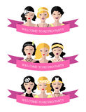 Vector set of invitation template to the retro party with flapper girls in flat style. Vector set of invitation template to the retro party with flapper girls Royalty Free Stock Photo
