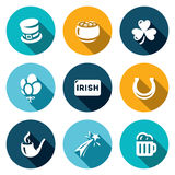 Vector Set of Ireland Icons. Irish country. Cylinder, Pot Gold, Clover, Balloons, Horseshoe, Pipe, Fireworks, Beer. St. Patricks Day  symbols on a white Royalty Free Stock Photo